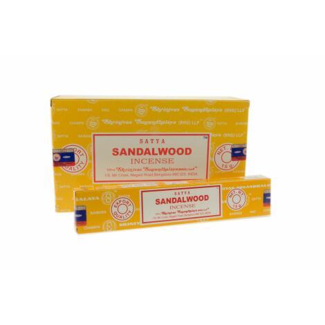 GROSSPACKUNG Satya SANDALWOOD Sandelholz Räucherstäbchen - 12 x 15 g