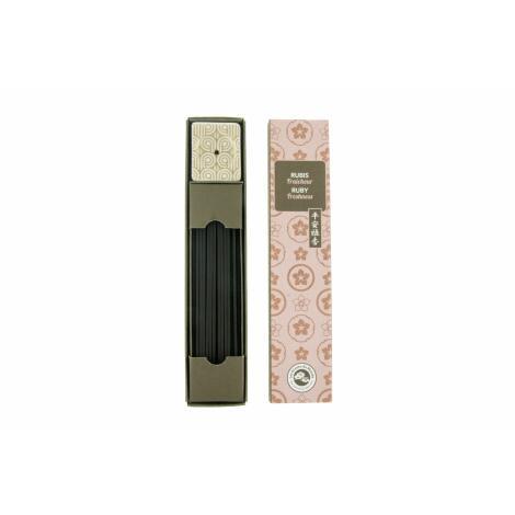 Aromandise RUBIN - japanische Räucherstäbchen von Aromandise Japan Serie Karin mit kleinem Räucherstäbchenhalter